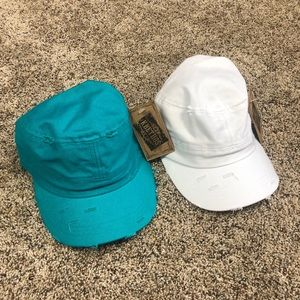 KBETHOS teal & white distressed hats nwt